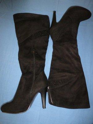 Eleganter Overknee-Stiefel mit Absatz, Velourlederoptik, schwarz - Gr. 40 - neu!