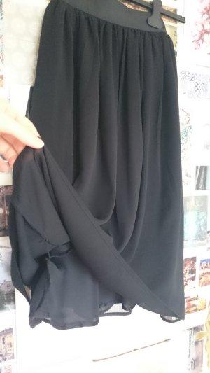 H&M Falda de talle alto negro Poliéster