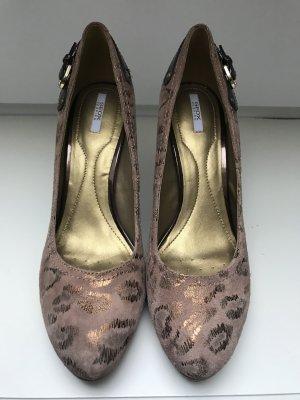 Geox Tacones con plataforma marrón claro-color bronce Gamuza