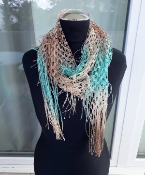 eleganter Schal Netz beige türkis