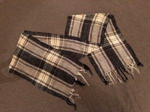 Eleganter Schal, Strick, kariert, braun, beige, schwarz, Bänder an den Enden
