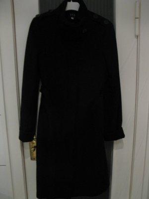 Eleganter schwarzer Mantel aus Schurwolle, DE34, 123Paris, französische Eleganz