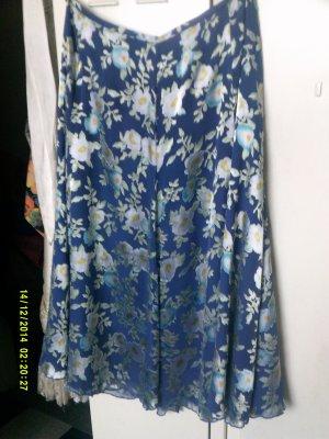 Peter Hahn Godet Skirt cornflower blue-white silk