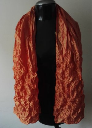 Eleganter Seidenschal knittert & dick Schal in Orange Neu