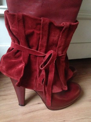 Platform Boots red-bordeaux leather