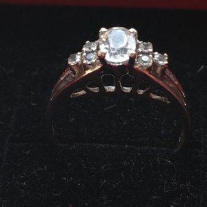 eleganter Vintage Edelstein Ring, 925 Silber mit weißem Turmalin