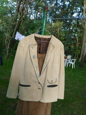 Leather Blazer cream-dark green suede