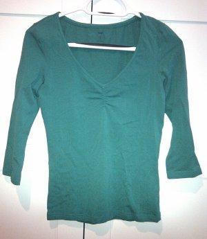 Elegantes 3/4-Armshirt in dunkelgrün aus Baumwolle in Größe S
