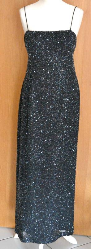 elegantes Abendkleid APART 40 schwarz Pailletten Kleid glitzer neu