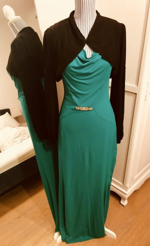 Elegantes Abendkleid in grün mit schwarzem Bolero