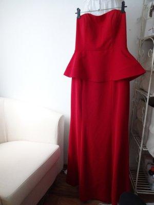 elegantes Abendkleid rot peplumstil
