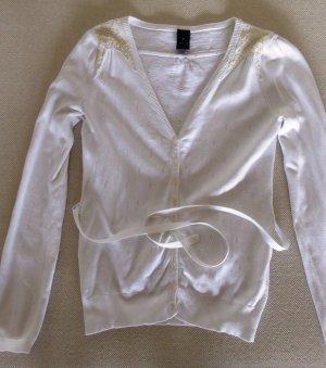 Elegantes Baumwoll-Jäckchen in Weiß/Beige mit Pailetten-Applikation und Gürtel