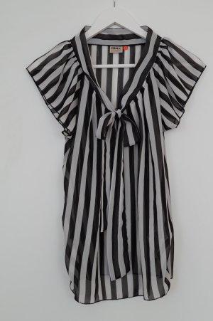 Only Tie-neck Blouse black-white