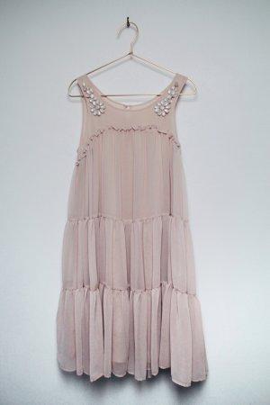 Elegantes Chiffon Kleid mit Applikationen, rosè