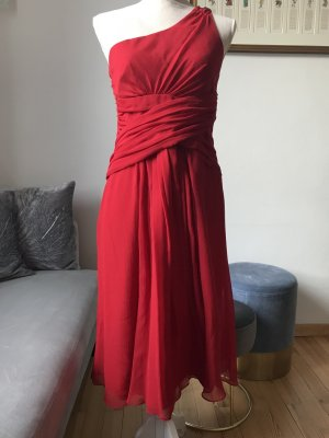 Hallhuber One Shoulder Dress red mixture fibre