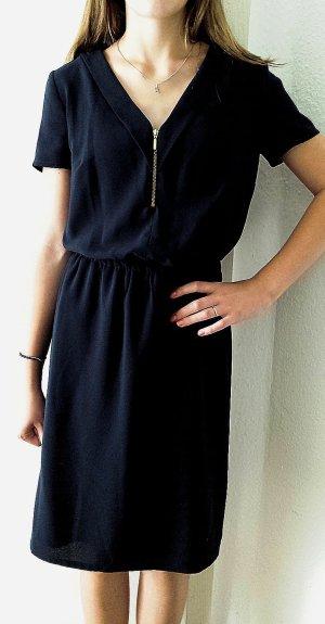 Elegantes dunkelblaues Kleid mit Reißverschluss vorne von Koton für den Herbst, Gr. 34