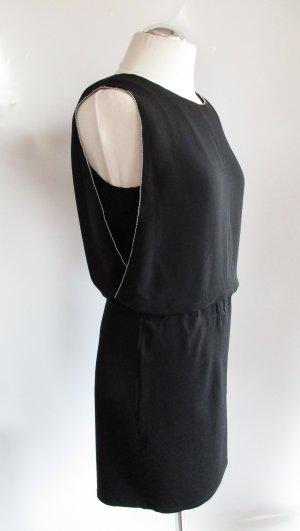 Elegantes Etuikleid Schwarz s`Oliver Größe 40 M Chiffon Jersey Perlenkette Kleid Abendkleid