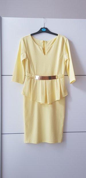 elegantes kleid, Bleistiftkleid, Gürtel, Sommerkleid, gelb