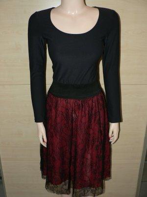 Elegantes Kleid MIMOSKA schwarz/bordeaux