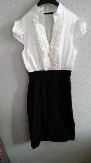 elegantes kleid schwarz weiß