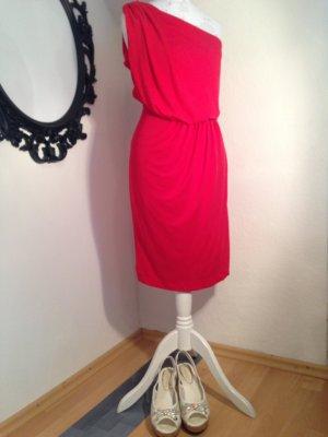 Mango One Shoulder Dress red