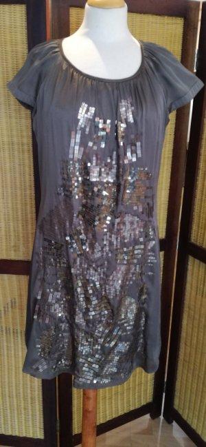 esprit collection Abito con paillettes marrone-grigio