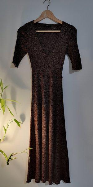 Zara Robe mi-longue bronze-marron clair