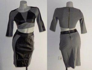 Maglione twin set nero-grigio