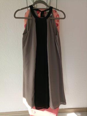 H&M Halterjurk zwart-beige Polyester