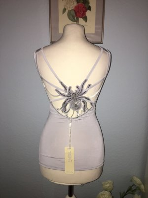 Cut Out Top light grey-silver-colored