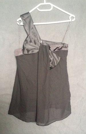 Elegantes One-Shoulder Top mit großer Schleife - schwarz