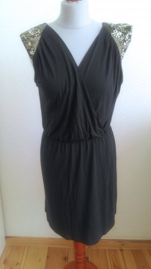 Warehouse Robe empire gris anthracite viscose