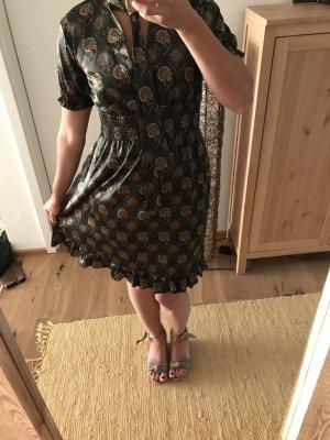 Elegantes Satinlook Kleid floral mit Bindekragen