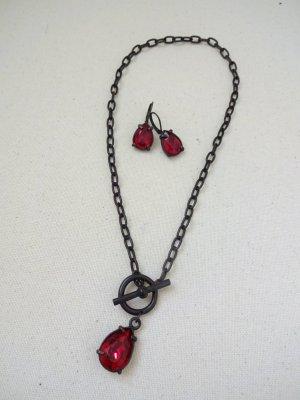 Collar estilo collier rojo oscuro