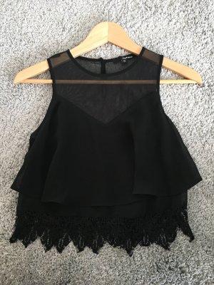 Elegantes, schwarzes Cropped Shirt