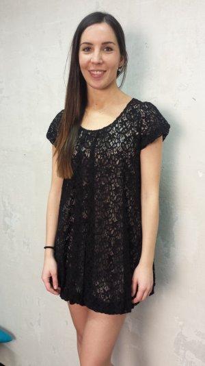 Elegantes schwarzes Spitzenkleid onesize