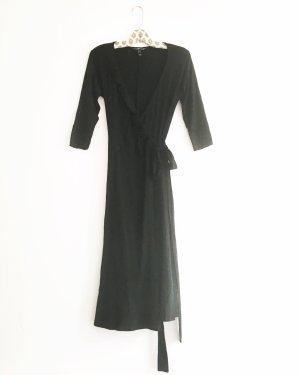 elegantes schwarzes wickelkleid / vintage / mango / jersey / midi / hippie / boho / classy