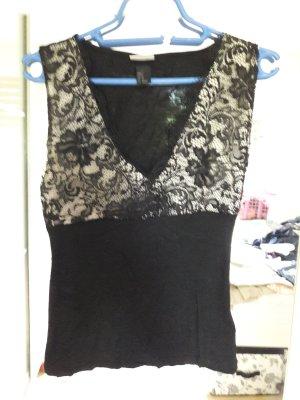 H&M Top de encaje negro-crema