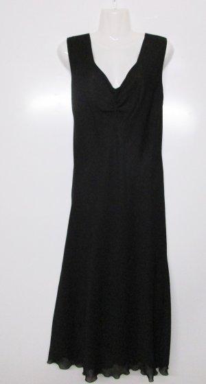 Elegantes Slipdress Kleid Yessica Größe 42 L Schwarz Chiffon Maxikleid Abendkleid Retro 20er V-Neck