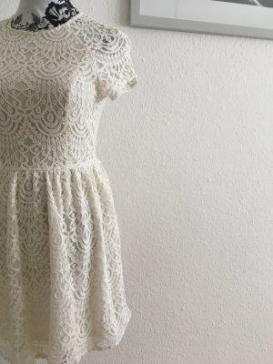 elegantes Spitzenkleid Creme/weiß