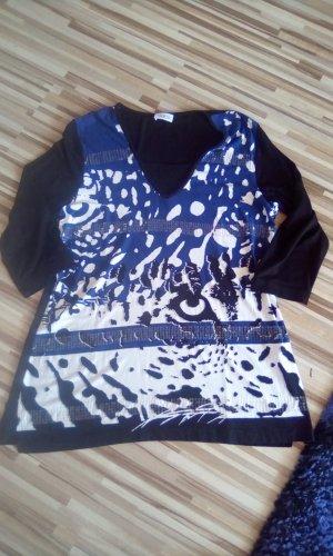 Elegantes Strechshirt mit 3/4 Ärmeln Gr.M-Schwarz/Blau/Weiß mit Pailletten
