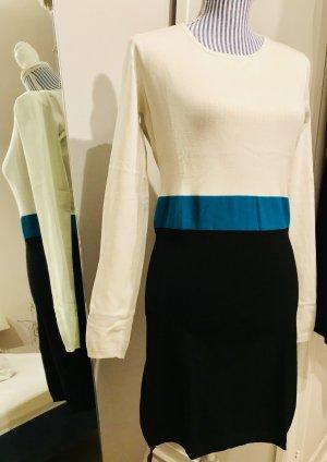 Elegantes Strickkleid in creme-türkis-schwarz