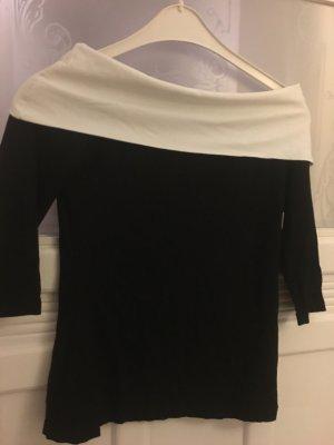 Elegantes Top mit Carmenausschnitt in Schwarz-Weiß