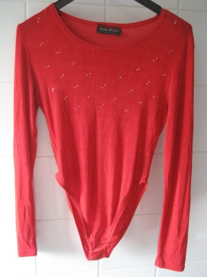 Knitted Top red synthetic fibre