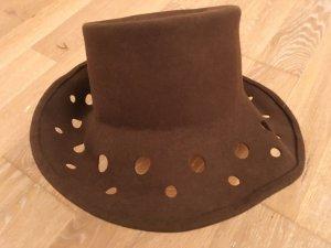 Vilten hoed bruin-roze Wol