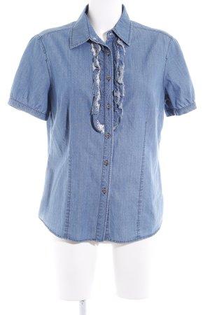 Elena Miro Chemise en jean gris ardoise-blanc motif de tache style décontracté