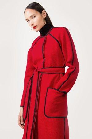 Manteau en laine rouge brique-noir laine vierge