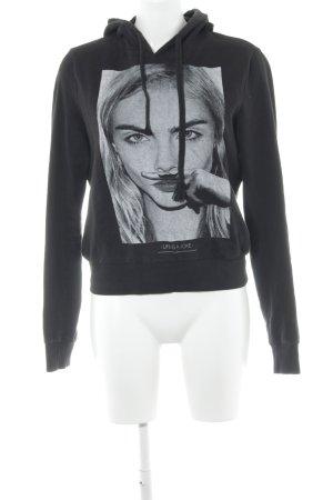 Eleven Paris Capuchon sweater zwart prints met een thema casual uitstraling