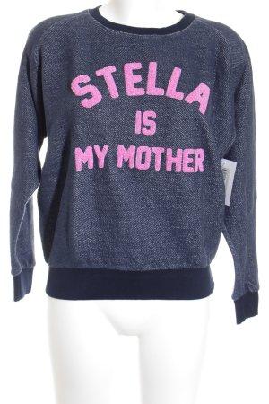 Eleven Paris Kraagloze sweater donkerblauw-roze geborduurde letters
