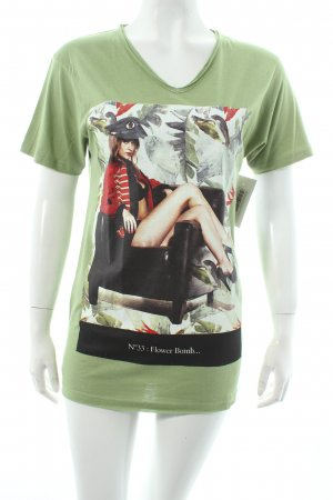 Eleven paris T-Shirt grün-schwarz Motivdruck Casual-Look